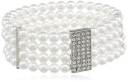 Roman Bride - Simulated Pearl and Crystal 4-Row Stretch Bracelet
