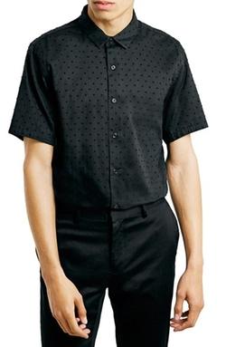 Topman - Textured Dot Short Sleeve Shirt