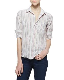 Frank & Eileen  - Barry Linen Pinstripe Button-Down Blouse