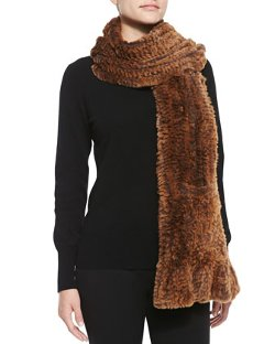 Belle Fare  - Knitted Rabbit Fur Wrap with Pockets