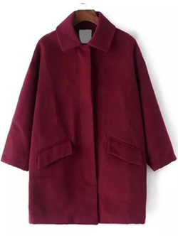 Romwe - Lapel Pockets Woolen Wine Red Coat