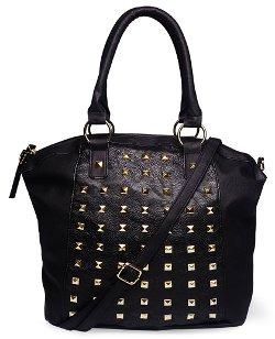 Wet Seal - Glam Studded Faux Leather Handbag