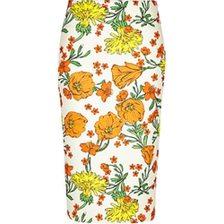 River Island - Orange Floral Print Pencil Skirt