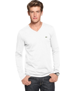 Lacoste - Core V-Neck Long Sleeve Jersey T-Shirt