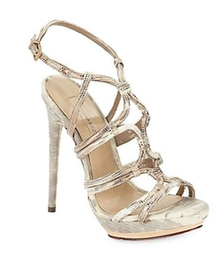 BCBGMAXAZRIA - Farrow Metallic-Leather Platform Sandals
