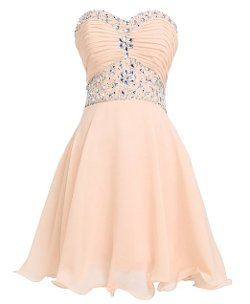Fashion Plaza  - Short Chiffon Strapless Crystal Homecoming Dress