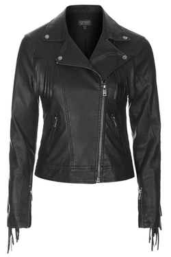 Topshop - Fringe Faux Leather Biker Jacket
