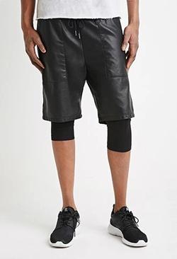 21Men - Faux Leather Drawstring Shorts