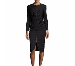 Oscar de la Renta  - Long-Sleeve Zip-Front Dress