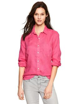 Gap - Fitted Boyfriend Linen Shirt