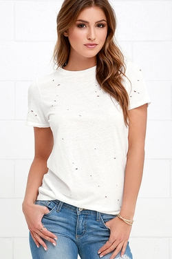 In the Raw  - Distressed Ivory T-Shirt
