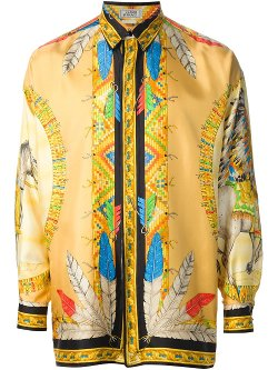 Gianni Versace Vintage - North American Indian Print Shirt