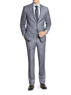 Saks Fifth Avenue Collection  - Samuelsohn Windowpane Wool Suit
