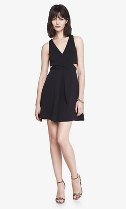 Express - Black Crisscross Cutout Fit And Flare Dress