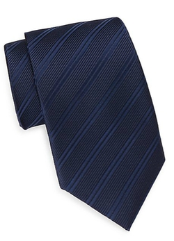 Saks Fifth Avenue  - Tonal Striped Silk Tie & Gift Box