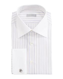 Stefano Ricci  - Contrast-Collar Striped Dress Shirt & Paisley Silk Tie
