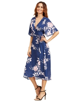 Milumia  - Floral Chiffon Wrap Split Long Dress