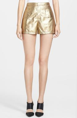 Tamara Mellon  - Metallic Suede Shorts