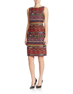 Chetta B - Patterned Sheath Dress