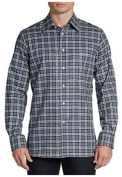Corneliani  - Tonal Plaid Cotton Sportshirt