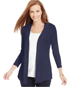 Charter Club - Button-Sleeve Open-Front Cardigan