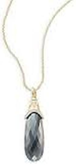 Jude Frances - Hematite, Pavé Diamond & Yellow Gold Teardrop Pendant