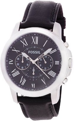 Fossil  - Grant Chronograph Black Leather Watch