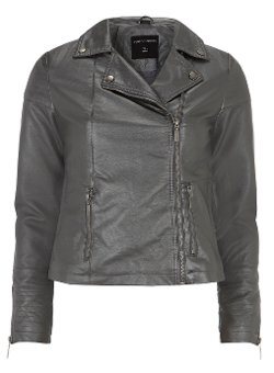 Dorothy Perkins - Pewter Metallic Stitch Biker Jacket