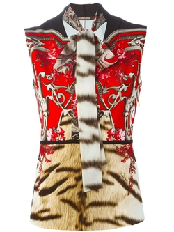 Roberto Cavalli   - Pussy Bow Printed Blouse
