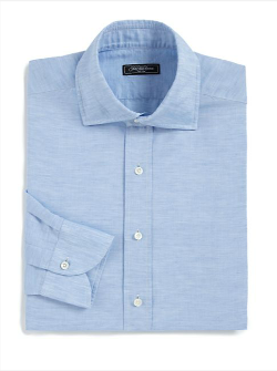 Saks Fifth Avenue Collection  - Linen & Cotton Blend Dress Shirt