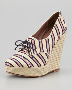 Tabitha Simmons  - Tie Striped Oxford Wedge