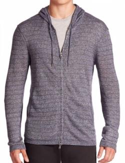 John Varvatos Star USA  - Striped Long Sleeve Zip-Front Hoodie Sweater