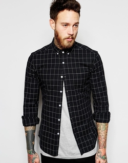 Asos - Grid Check Skinny Shirt