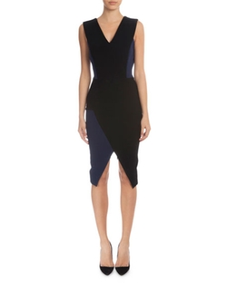 Victoria Beckham  - Sleeveless V-Neck Sheath Dress
