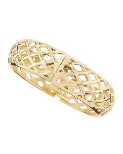 Sequin   - Wide Golden Open-Lattice Bangle