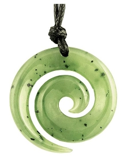 Earthbound Pacific - Ade Petite Maori Open Koru Necklace