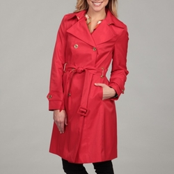 Calvin Klein - Tomato Red Belted Trench Coat