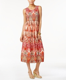 NY Collection - Printed Smocked Maxi Dress