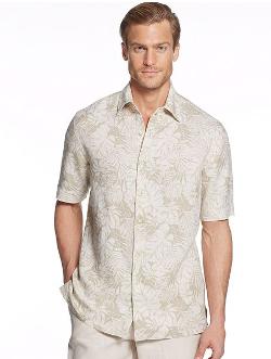 Tasso Elba Island - Silk Linen Outlined Palm Print Shirt