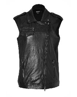 DKNY  - Leather Biker Vest in Black