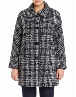 Ellen Tracy - Faux Leather-Trimmed Plaid Kimono Coat