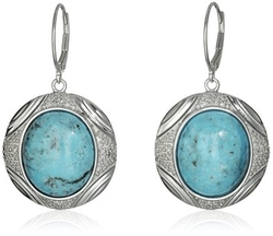 Amazon Collection - Oval Stabilized Turquoise Drop Earrings