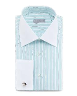 Stefano Ricci  - Contrast-Collar Striped Dress Shirt, Mint
