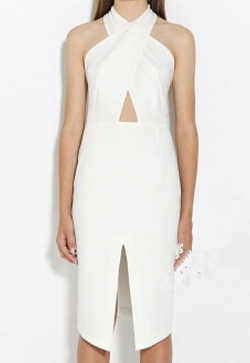Romwe - Halter Cut Out With Split Slim Dress