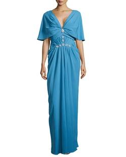 J. Mendel - V-Neck Cowl-Sleeve Gown