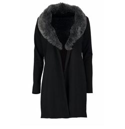 Boohoo - Mia Faux Fur Collar Ponte Duster Coat