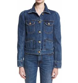 Co - Puff-Shoulder Jean Jacket