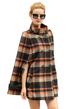Stylishelf - Plaid Woolen Cape