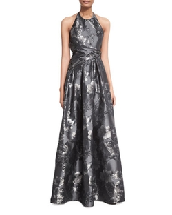 Carmen Marc Valvo - Floral Halter Ball Gown, Black/silver