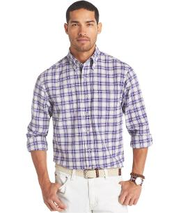 Izod  - Crinkle Textured Small Plaid Shirt